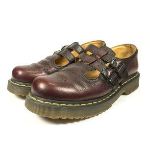 Dr Martens Burgundy Leather Mary Jane Shoes